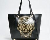 Dia de Los Muertos Gold Skull Black Tote Bag for Woman