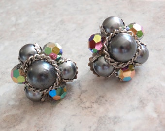Beaded Cluster Earrings Clip On Faux Black Pearls AB Crystals Vintage V0751