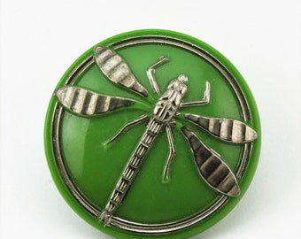 Rare Vintage Green Opaque Glass Silver Dragonfly Button, 28mm, Plate Loop Brass Shank, 1pc