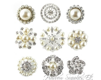 Pearl Rhinestone Buttons - 21 to 31 mm - Metal Button, Pearl Buttons, Bridal Bouquet, Buttons Bulk, Crystal Button, Buttons Silver
