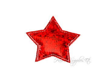 Red Star Padded Applique 1 inch - July 4th Stars - Hairbow Supplies, Etc.