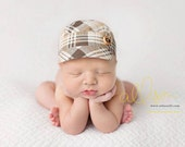 newborn BOY fabric hat with button (Levi) - photography prop - cream, tan, beige, white, brown, boy, hat