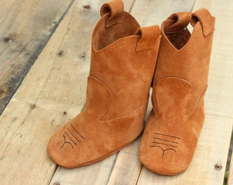 Leather Baby Booties - Baby Cowboy Boots - Baby Boots - Booties - Leather Booties - Crib Shoes - Soft Sole Booties -  Leather Baby Shoes