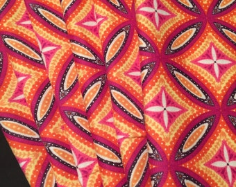 Orange Cloth Napkins, Reusable Napkins, Eco Friendly Napkins, Pack Of 6, Geometric Napkins, Pink and Orange Napkins