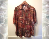 90s Fresh Prince Men's Earth Tone Brown Green Rust Abstract Art Print Shirt size Large
