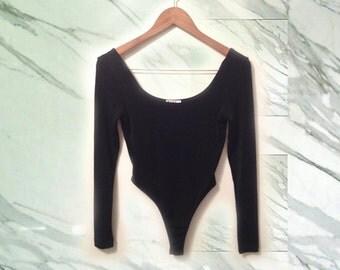90s Minimal Black Slinky Ribbed Knit BCBG Long Sleeve Leotard Thong Back Scoopneck size Small