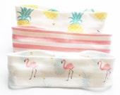 THREE Knotted Headbands - Summer Love -  Infant Headband - Jersey Knit Headband Organic Headband  Organic Baby Headband Flamingo Pineapple