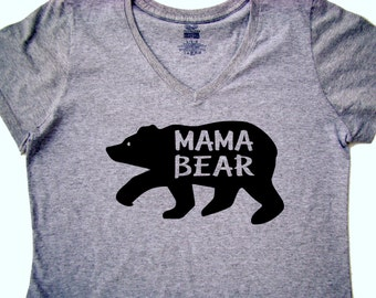 Mama Bear shirt - Mother's day gift,  Mama Bear V neck tops and tees - New Mom Baby shower gift - Gift for her