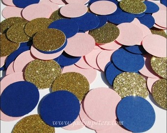 Navy Blue, Blush Pink, Gold Glitter, Table Confetti, Gender Reveal Party, Twins Birthday, Wedding Decor, Bridal Shower, Dessert Buffet Idea