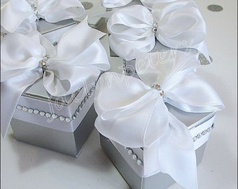 Elegant Silver, Rhinestone Favor Boxes, White Satin Bows, Weddings, 25th Anniversary Parties, Bridal Shower Decor, Candy Box, Set Of 24