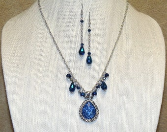 Royal Blue and Silver Pendant Necklace and Earrings