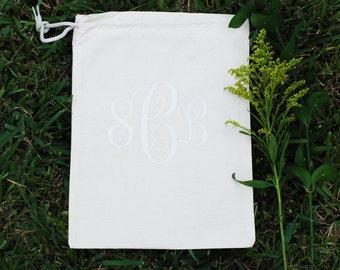 Custom Personalized Cotton Canvas Natural Drawstring Monogram Lingerie Bag, Shoe Bag, Travel Bag, Wedding Bag, Bridesmaid Bag