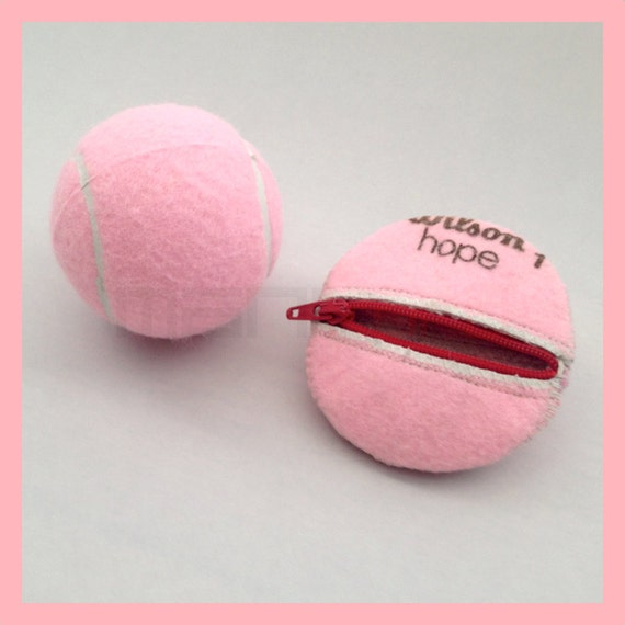 PINK Handmade Repurposed Tennis Ball Round/Compact Change