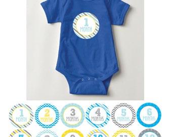 Baby Boy Month Stickers, 1-12, blue, yellow, grey, chevron, stripes, dots
