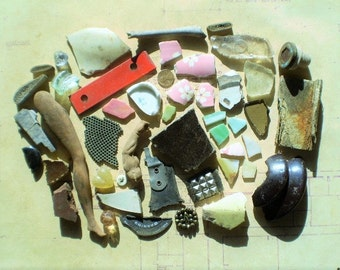 46 Found Objects for Altered Art, Sculpture or Assemblage - Salvaged Supplies - Metal Ceramic Plastic Cloth Glass