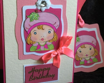 Birthday card girl pink with matching tag