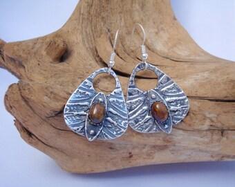 PMC Earrings - Tempest Stone Dangles - Fine Silver Earrings - Silver and Pietersite Earrings