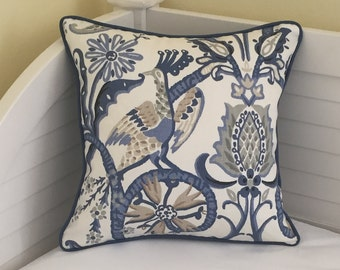 Thibaut Peacock Garden Designer Pillow Cover with Piping - Square and Euro Sizes