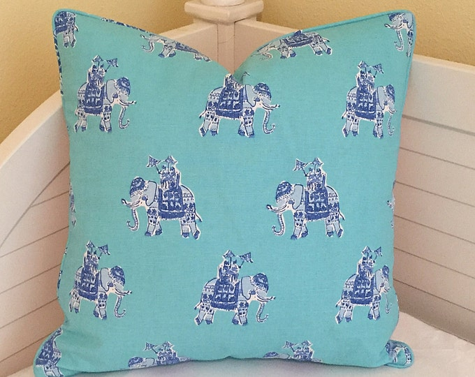 Lilly Pulitzer Bazaar in Shorely Blue Elephants Designer Pillow Cover with Self Welting - Square, Euro and Lumbar Sizes