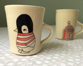 Penguin Coffee Mug - Handmade Ceramic Pottery Coffee Mug - Small Penguin Mug - Teacup - Tea Cup - Tea Mug