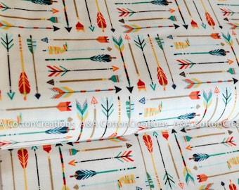 Adventure Arrow Cream Cotton, Baby Fabric, Apparel Fabric,Fabric by yard,Quilting Weight Cotton, Geometric Modern print, Riley Blake Designs