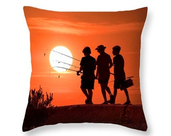 Three boys gone fishing at Sunset on Lake Michigan in Ludington Michigan No.4453 decorative novelty throw pillow Home Décor cushion cover