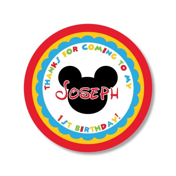 Mickey Mouse Sticker, Clubhouse Sticker, Minnie Mouse Sticker, Mickey Mouse Favor Sticker, Mickey Birthday, Clubhouse Birthday, Mickey Party