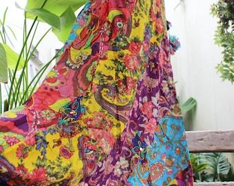 Soft Cotton Patchwork Skirt - OM1610-09