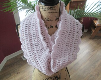 Hand crocheted infinity scarf, pale orchid
