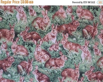 ON SALE Allover Rabbits in Grass Print Pure Cotton Fabric--One Yard