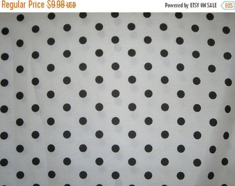 ON SALE Black on White Polka Dot Pure Cotton Fabric--One Yard