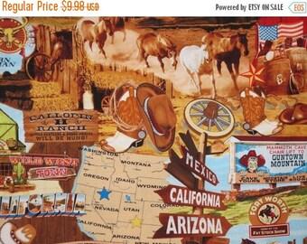 ON SALE Wild Wild West Print Pure Cotton Fabric--One  Yard