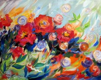 Breeze Large Original Painting Canvas Art  30 x 40 Fine Art by Elaine Cory