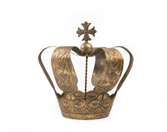 Crown Cake Topper, Antique Gold Crown, Cross Top