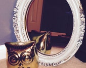 Vintage Mint Green and Gold Baroque Oval Mirror