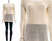 Vintage 80s Beige Crochet Knit Sweater Jumper See Through Sheer MINIMALIST Small Medium
