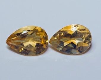 CITRINE (30882) PAIR ( 2 Gems) Yellow Orange 5 x 7mm Pear Cut  Citrine (Quartz)