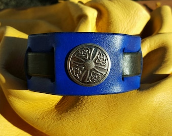 Medieval Leather Cuff w/ Celtic Cross Concho, Blue, Medium/Large