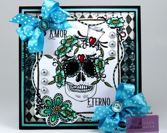 Day of the Dead Amor Eterno Greeting Card Handmade
