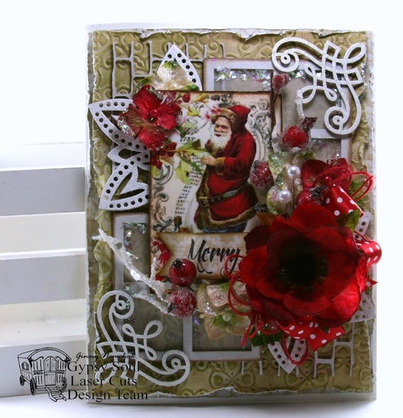 ... Tradtional Santa Greeting Card Holiday Polly's Paper Studio Petaloo