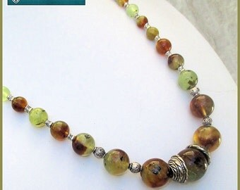 Green Graduated Bead Gemstone Necklace, Prehnite Large Bead Necklace, Green and Brown Jewelry, Adjustable Length Necklace, Stone Jewelry