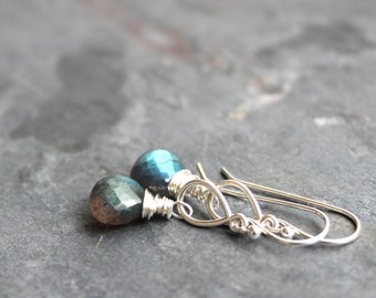 Labradorite Earrings Sterling Silver Teardrop Gemstone Briolette Dangle Earrings Gray Stone