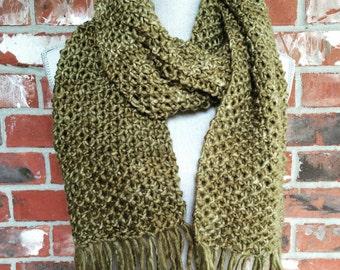 Chunky Knit Scarf Leaf Green Ready to Ship Winter Scarf