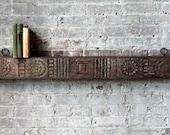 Wall Shelf Antique Hand Carved Indian Door Header Hanging Reclaimed Wood Moroccan Decor Turkish