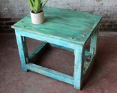 Vintage Industrial Wood Factory Table Side Table School Desk Turquoise Bright Blue Plant Stand Craft Table Boho Farm Chic Indonesian