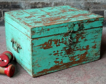 Vintage Ballot Box Suggestion Box Jewelry Box Indian Merchant Chest Reclaimed Hand Made Turquoise Box Photography Prop