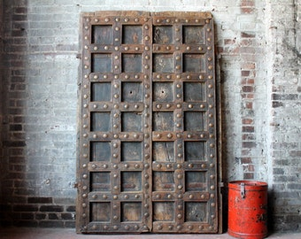 Antique Indian Door Set Teak Wood Heavily Distressed Haveli Doors Global Decor Indian Furniture Moorish Moroccan