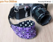 CLEARANCE SALE Camera Strap for Wrist, DSLR - Quick Release - Purple Flowers - Ready to Ship