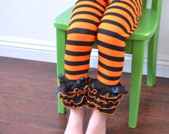 Halloween Colored Stripe Leggings with Full Ruffles / Black and Orange Stripe / Toddler Girls Leggings---2T-5T