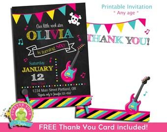 Digital Invitations - Printable Invitations - Rock Star Birthday Invitations - Rock Star Party - Rock Star Invitations - Birthday Invitation